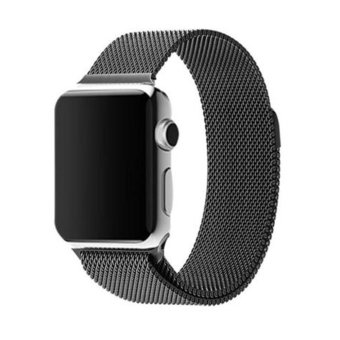 Harga GAKTAI Milanese Magnetic Loop Stainless Steel Strap Watch Bands For Apple Watch iWatch 42mm (Black)