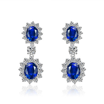 Harga Princess Diana Style Classic Earrings Sapphire Created Gemstone 925 Sterling Silver Jewelry
