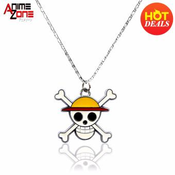 ANIME ZONE One Piece Straw Hat Pirates Jollyroger Fashionable Pendant Necklace (Silver) Price Philippines