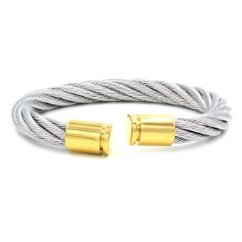 Harga Venice Idelle Thick Cable Wire End Cuff Bracelet (Silver/Gold)