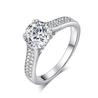 Harga 1.8ct CZ Diamond Ring Pure 925 Sterling Silver Jewelry Engagement Wedding Solitaire Ring