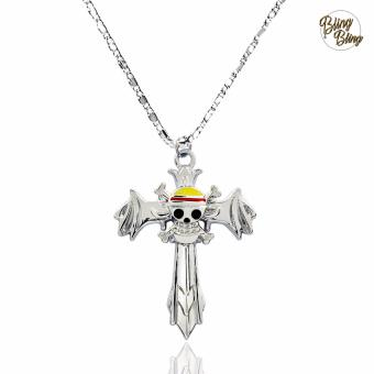Bling Bling One Piece Anime Straw Hat Pirate Cross Fashionable Pendant Necklace (Silver) Price Philippines