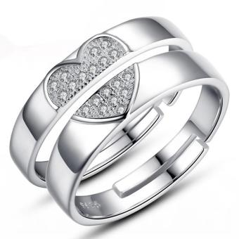 Harga Couple Rings Jewellry 925 Silver Adjustable Lovers Ring Jewelry E026 - intl