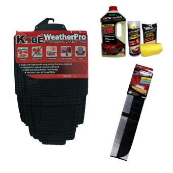 NFSC - Kobe Professional Black Car Mattings with Autogard Wash & Wax, Microfiber and Sunshade Price Philippines