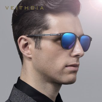 VEITHDIA Brand Unisex Retro Aluminum Magnesium Sunglasses Polarized Lens Vintage Outdoor Eyewear Accessories Sun Glasses 6680 (Gun/Blue) - intl Price Philippines