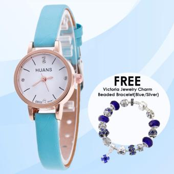 Harga CWL Slim Chick Leather Strap Watch (Blue) with FREE Victoria Jewelry Charm Beaded Bracelet(Blue/Silver)