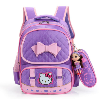 Hely TOP High-capacity Kids Girls Cartoon Schoolbag Waterproof Primary School Pupils Backpack with Pencil Bag (Purple) - Intl Price Philippines