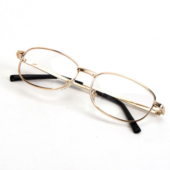 Harga Fashion Bifocal Lens Rimmed Men's Reading Glasses Gold Metal Frame Eyeglasses 3