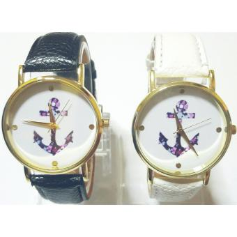 Harga Stephen and Sabrina Couple Anchor Leather Strap Watch Set of 2