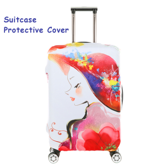 Harga FLORA Stretchable Elasticy 22-24 inch Waterproof Suitcase Luggage Cover to Travel- Beauty Girl - intl