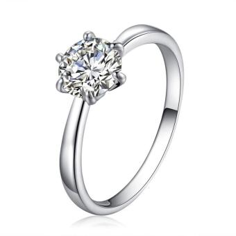 Harga Solitaire Ring Women's Engagement Cubic Zirconia Diamond Ring Solid 925 Sterling Silver Jewelry