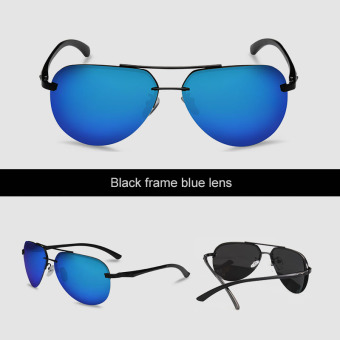 VEITHDIA 143 Men's Brand Designer Sunglasses Polarized Aluminum UV400 black frame blue lens for Men - Intl Price Philippines