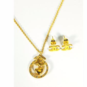 Posh Perfect Channel Pendant Necklace & Earring Set (Gold) Price Philippines