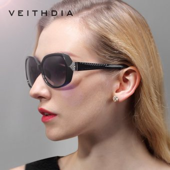 VEITHDIA Vintage Large Sun glasses Polarized Carved Diamond Ladies Sunglasses Outdoor Eyewear Accessories 7011 (black) - intl Price Philippines