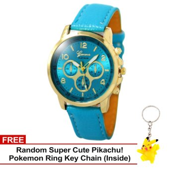 Harga Geneva Sophie AquaBlue Leather Strap Watch with Free Super Cute Pikachu Key Chain