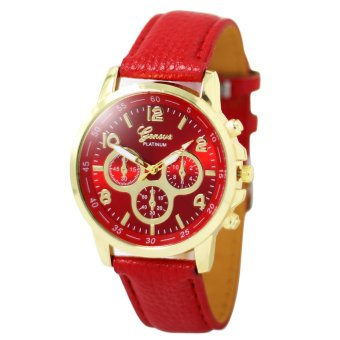 Harga Geneva Sophie Red Leather Strap Watch