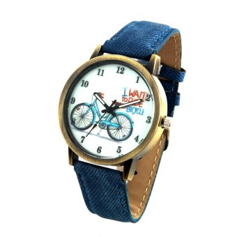 Harga Bicycle Unisex Blue Denim Leather Strap Watch 8816 (Gold)