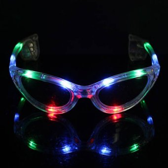 Harga Okdeals LED Light Up Sunglasses Shades Flashing Blink Glow Glasses Colorful