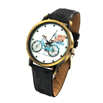 Harga Bicycle Unisex Grey Denim Leather Strap Watch 8816 (Gold)