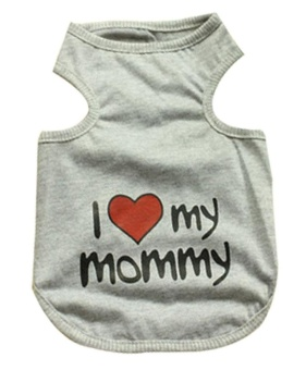 ruixiang Adorable I Love My Mommy Printed Pet Dog Puppy Vest Clothes T-Shirt(Gray, XXL) - intl Price Philippines