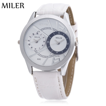 Harga Miler A695 Male Dual Quartz Movt Watch Double Sub-dials Leather Band Wristwatch