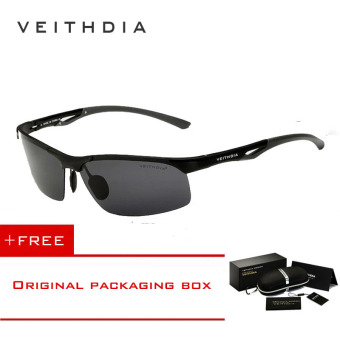 VEITHDIA Aluminum Magnesium Polarized Mens Sunglasses Rimless Driving Sun Glasses Sport Eyewear Accessories For Men male 6591(Black) [ Buy 1 Get 1 Freebie ] Price Philippines