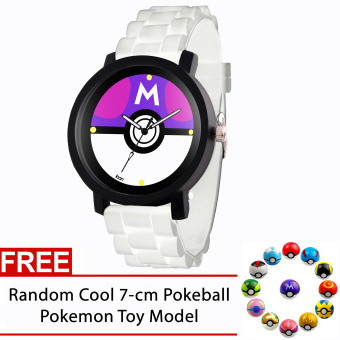 POKEMON Master Ball Pokeball Pokemon Rubber Strap Gamer Watch (White) FREE Random Pokemon Pokeball Toy Model Price Philippines