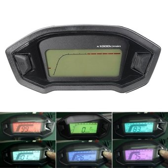 Harga Motorcycle Digital Speedometer Motor LCD Odometer Seven Backlight - intl