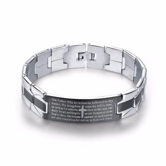 Harga High Grade Premium Stainless Steel Bible Verse Bracelet (BLACK STRIPE)