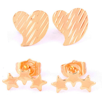 Harga Jewelmine Heart and Stars Duo Earrings (Gold)