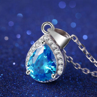 Harga 1.8ct Gemstone Pendant Blue Topaz Solid 925 Sterling Silver Box Chain Necklace Jewelry Gift for Women