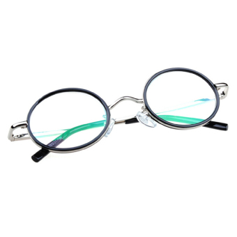 Harga Retro Rimmed Reading Glasses Round Lenses +2.5 with Case Cloth Silver