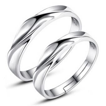 Harga Couple Rings Jewellry 925 Silver Adjustable Lovers Ring Jewelry E008 - intl