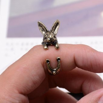 Harga 3 Colors Retro Exaggerating Cute Rabbit Adjustable Rings Women Men Lovely Jewelry-Antique Gold - intl