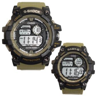 Casio Sport Couple Watch Resist Moss Green/Black Rubber Strap Price Philippines