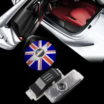 2pcs/lot LED Car Door Welcome Lights Union Jack EMBLEM LIGHTS for Mini Cooper R55 R56 R60 R61 F56 R57 R58 - intl Price Philippines