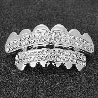 Harga 2pcs Unisex Hip Hop Gold Plated Rhinestones Teeth Top+Bottom Fangs Grill Grillz - intl