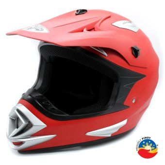 Harga KING COBRA K-101-A Off Road Motocross Motorcycle Helmet by Everstrong (Devil Matte Red)