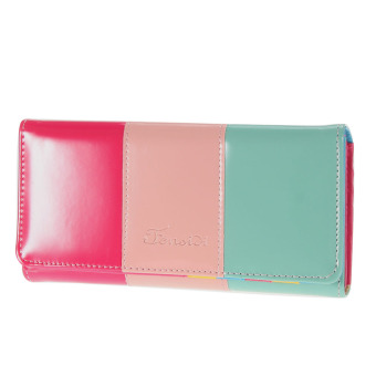 Harga Candy Leather Wallet Button Clutch Purse Lady Long Handbag(pink)