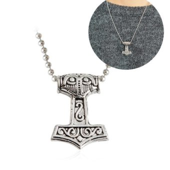 Kuhong Mens Nordic Viking Mjolnir Pendant Leather Chain Myth Thor's Hammer Necklace - intl Price Philippines