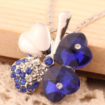 Harga Exquisite Crystal Four Leaf Clover Necklace Chain