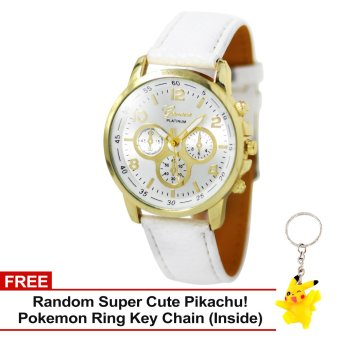 Harga Geneva Sophie White Leather Strap Watch with Free Super Cute Pikachu Key Chain