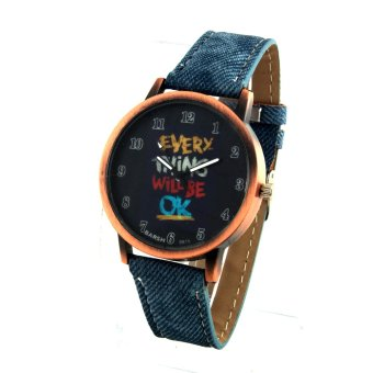 Harga OK Women's Light Blue Denim Leather Strap Watch 8815 (Rose Gold)
