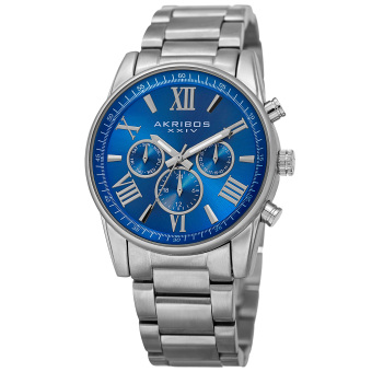 Harga Akribos XXIV Women's AK908BU Swiss Quartz Multifunction Blue Silver-tone Stainless Steel Bracelet Watch