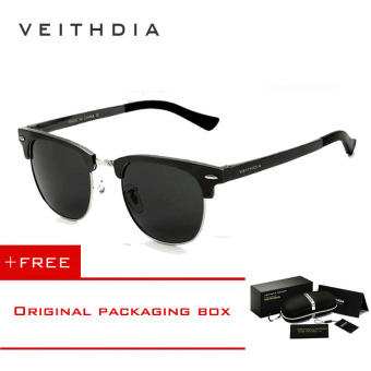 VEITHDIA Unisex Retro Aluminum Magnesium Sunglasses Polarized Mirror Vintage Outdoor Eyewear Accessories Sun Glasses 6690 (Grey) [ Buy 1 Get 1 Freebie ] Price Philippines