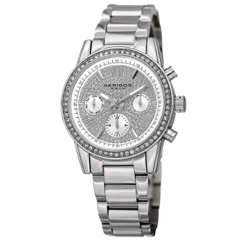 Harga Akribos XXIV Women's AK926SS Swiss Quartz Multifunction Crystal Silver-Tone Bracelet Watch