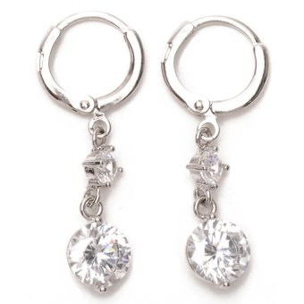 Jewelrista Two Stone Hoop Earrings (White Gold) Price Philippines