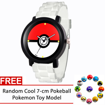 POKEMON Pokeball Pokemon Rubber Strap Gamer Watch (White) FREE Random Pokemon Pokeball Toy Model Price Philippines