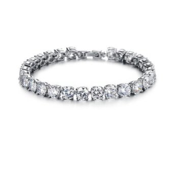 Harga Sterling Silver Platinum Plated Women Tennis Bracelet With Clear Cubic Zirconia CZ Stone - INTL