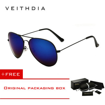 VEITHDIA Brand Classic Fashion Polarized Sunglasses Men/Women Colorful Reflective Coating Lens Eyewear Accessories Sun Glasses 3026(Black Blue) [ Buy 1 Get 1 Freebie ] Price Philippines
